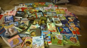 Books that the library got from the book fair.